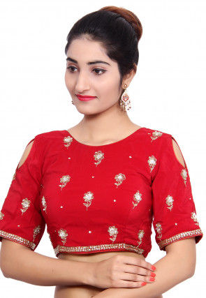 Embroidered Pure Crepe Padded Blouse in Red
