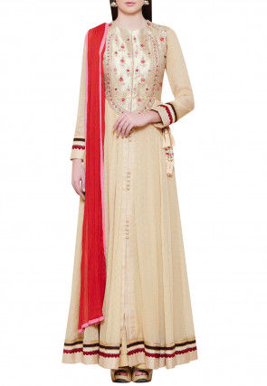 Embroidered Pure Georgette Jacquard Abaya Style Suit in Beige