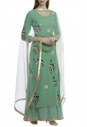 Embroidered Pure Georgette Pakistani Suit in Dusty Green