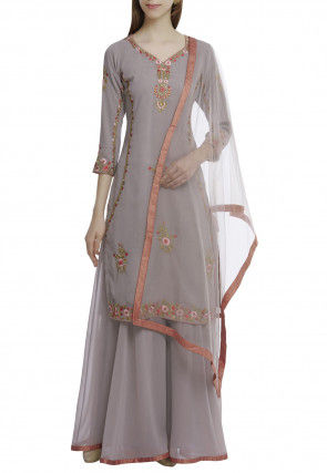 Embroidered Pure Georgette Pakistani Suit in Grey