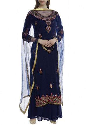 Embroidered Pure Georgette Pakistani Suit in Navy Blue