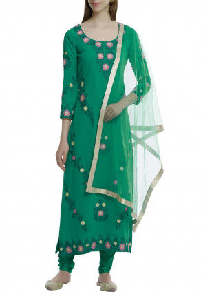 Embroidered Pure Georgette Straight Suit in Green