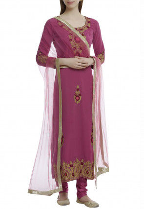 Embroidered Pure Georgette Straight Suit in Magenta