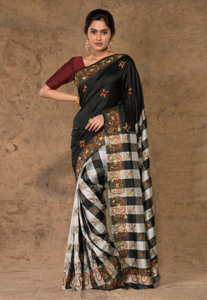 Embroidered Pure Katan Silk Saree in Black and White