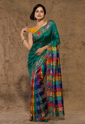 Embroidered Pure Katan Silk Saree in Dark Teal Green and Multicolor