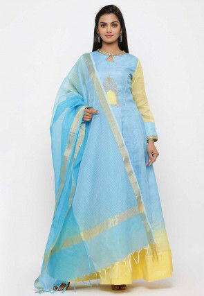 Embroidered Pure Kota Silk Abaya Style Suit in Ombre Blue