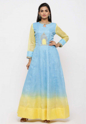Embroidered Pure Kota Silk Anarkali Kurta in Ombre Blue and Yellow