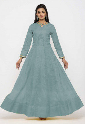 Embroidered Pure Kota Silk Anarkali Kurta Set in  Dusty Blue