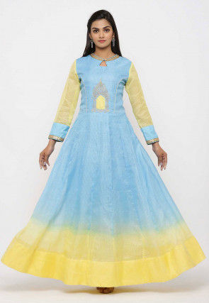 Embroidered Pure Kota Silk Anarkali Kurta Set in Ombre Blue and Yellow