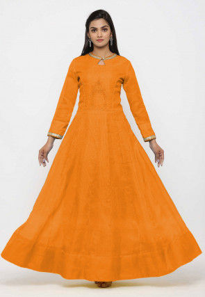 Embroidered Pure Kota Silk Anarkali Kurta Set in  Orange
