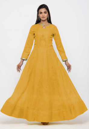Embroidered Pure Kota Silk Anarkali Kurta Set in  Yellow