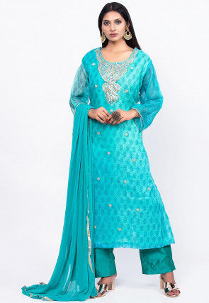 Embroidered Pure Kota Silk Pakistani Suit in Turquoise