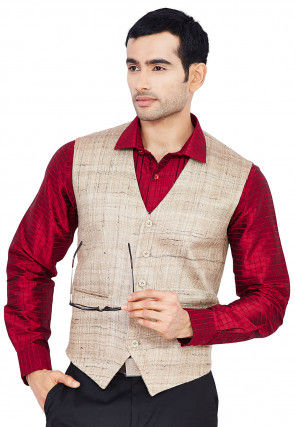 Embroidered Pure Raw Silk Shirt in Maroon