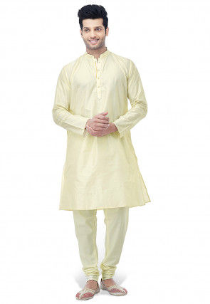 Embroidered Pure Silk Kurta with Pajama in Cream
