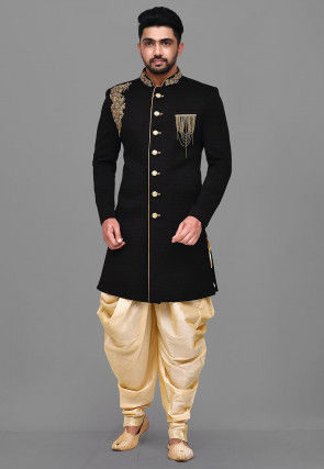 Embroidered Quilted Scuba Dhoti Sherwani in Black