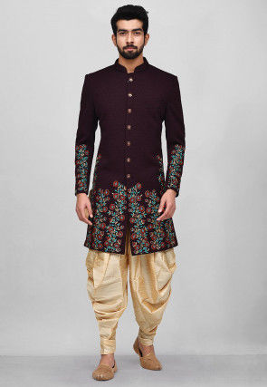 Embroidered Quilted Scuba Dhoti Sherwani in Dark Violet
