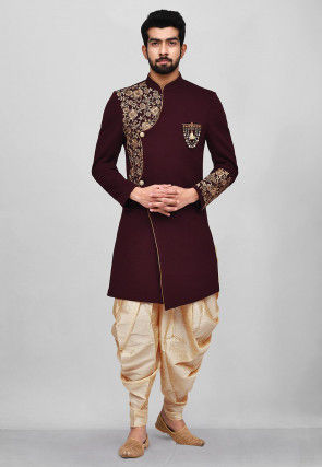 Embroidered Quilted Scuba Dhoti Sherwani in Maroon