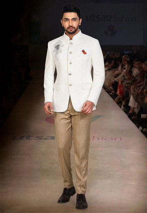 Embroidered Quilted Scuba Jodhpuri Suit in White