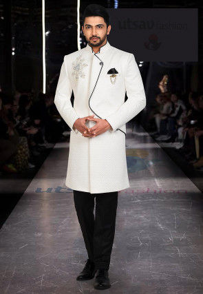 Embroidered Quilted Scuba Sherwani in White