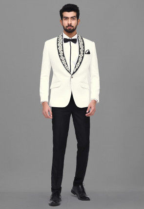 Embroidered Quilted Scuba Tuxedo in White