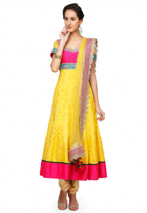 Embroidered Raw Silk Anarkali Suit in Yellow