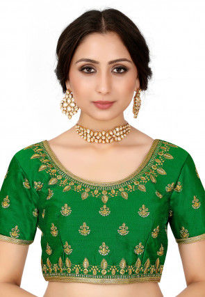 Embroidered Raw Silk Blouse in Green