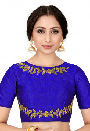 Embroidered Raw Silk Blouse in Royal Blue