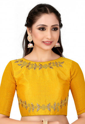 Embroidered Raw Silk Blouse in Yellow