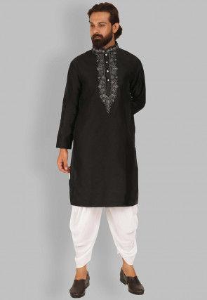 Embroidered Raw Silk Dhoti Kurta in Black