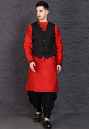 Embroidered Raw Silk Dhoti Kurta Set in Red and Black