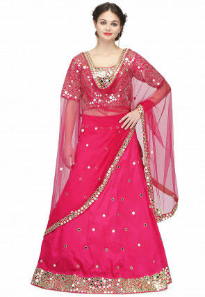 Embroidered Raw Silk Lehenga in Fuchsia