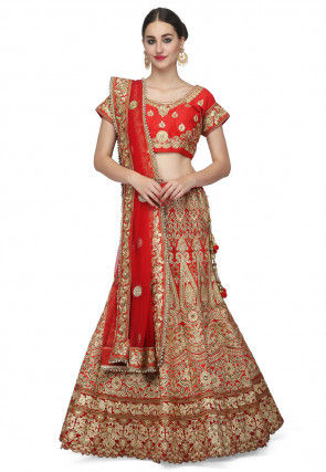 Embroidered Raw Silk Lehenga in Red