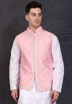 Embroidered Raw Silk Nehru Jacket in Light Pink