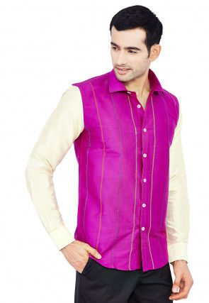 Embroidered Raw Silk Shirt in Magenta and Cream