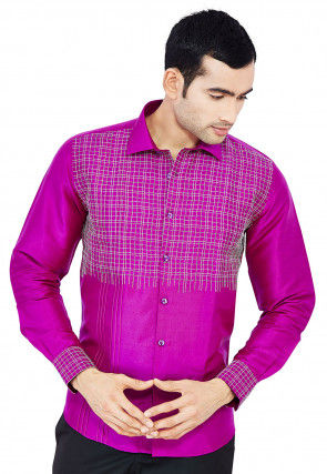Embroidered Raw Silk Shirt in Magenta