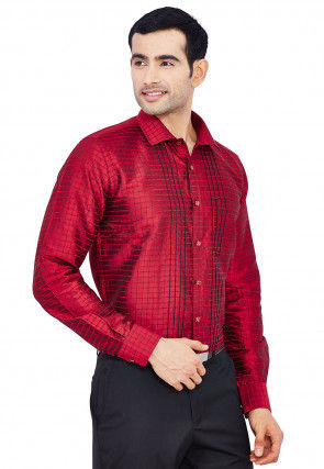 Embroidered Raw Silk Shirt in Maroon