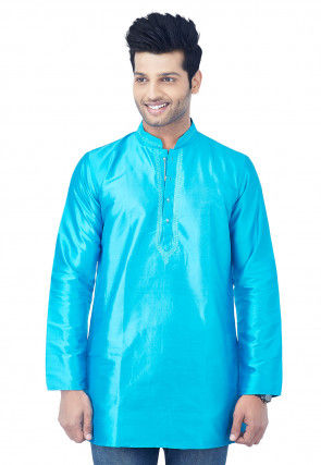 Embroidered Raw Silk Short Kurta in Turquoise