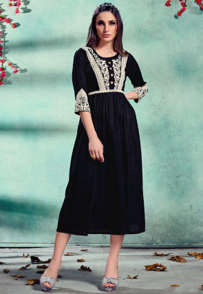Embroidered Rayon A Line Kurta in Black