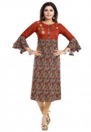 Embroidered Rayon A Line Kurta in Brown and Rust