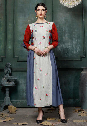 Embroidered Rayon A Line Kurta in Light Grey and Blue