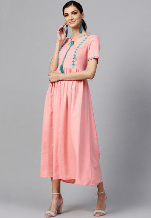 Embroidered Rayon A Line Kurta in Light Pink