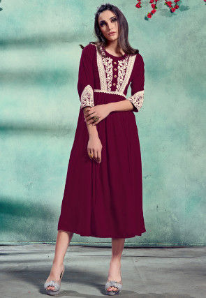 Embroidered Rayon A Line Kurta in Magenta