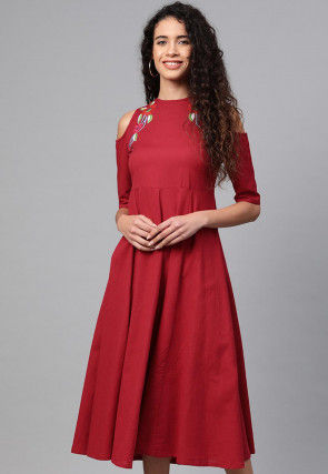 Embroidered Rayon A Line Kurta in Maroon