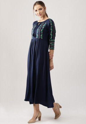 Embroidered Rayon A Line Kurta in Navy Blue