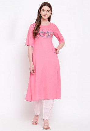 Embroidered Rayon A Line Kurta in Pink