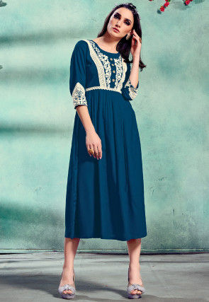 Embroidered Rayon A Line Kurta in Teal Blue