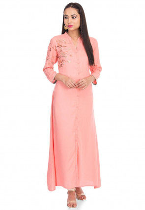 Embroidered Rayon A Line Kurta Set in Peach