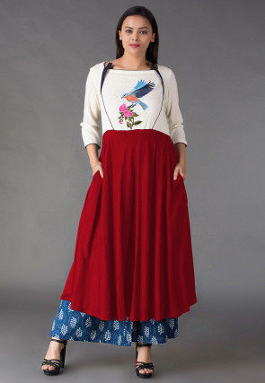 Embroidered Rayon A Line Kurta Set in Red and Off White