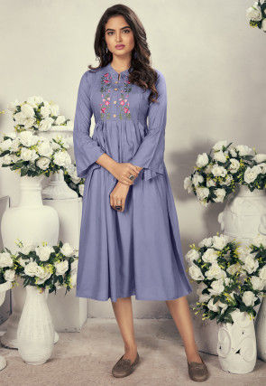 Embroidered Rayon A Line Pleated Kurta in Light Purple