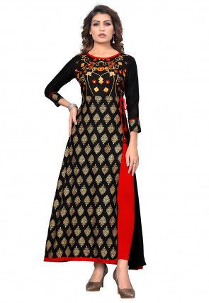 Embroidered Rayon A Line Slide Slit Kurta in Black
